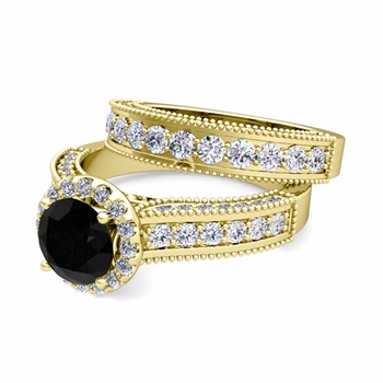 Bridal Set of Heirloom Black and White Diamond Engagement Wedding Ring in 18k Gold, 7mm