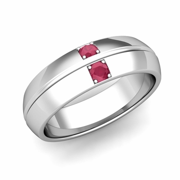 Mens Comfort Fit Ruby Wedding Band Ring in Platinum, 6mm