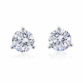 Diamond Earrings in 14k White Gold 3 Prong Setting G, SI1, 0.75 cttw