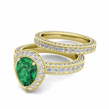 Milgrain Pear Shaped Emerald Engagement Ring Bridal Set in 18k Gold, 7x5mm
