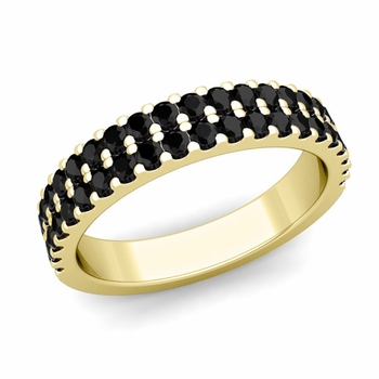 Two Row Black and White Diamond Wedding Ring Band in 18k Gold
