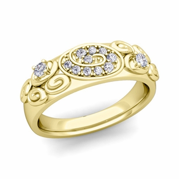 Swirl Diamond Wedding Ring Band in 18k Gold, 5.5mm