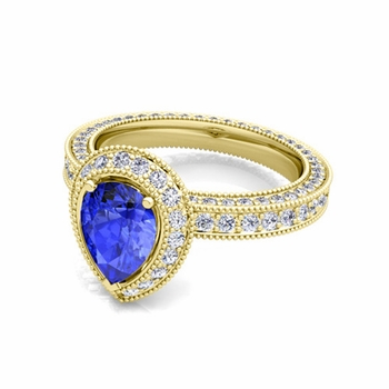 Milgrain Pear Shaped Ceylon Sapphire and Diamond Engagement Ring in 18k Gold, 7x5mm