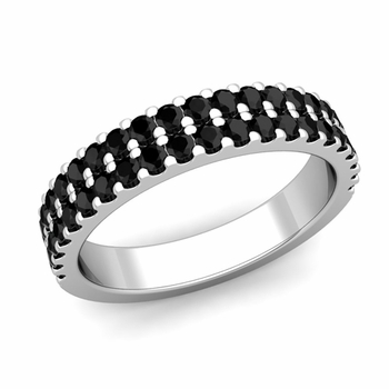 Two Row Black and White Diamond Wedding Ring Band in Platinum