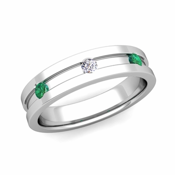 3 Stone Diamond and Emerald Mens Wedding Ring in Platinum Comfort Fit Ring, 5mm