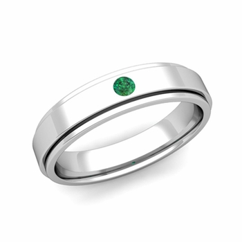 Solitaire Emerald Mens Wedding Ring in Platinum Comfort Fit Ring, 5mm
