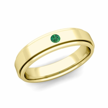 Solitaire Emerald Mens Wedding Ring in 18k Gold Comfort Fit Ring, 5mm