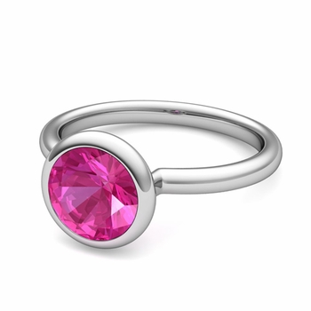 Bezel Set Solitaire Pink Sapphire Ring in 14k Gold, 7mm