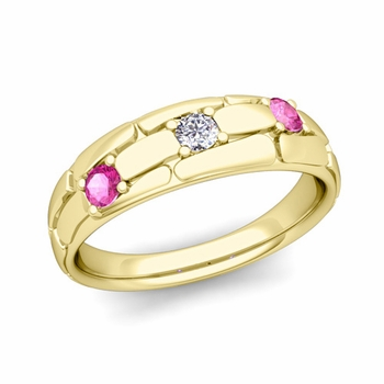Organica 3 Stone Diamond Pink Sapphire Wedding Band in 18k Gold, 6mm