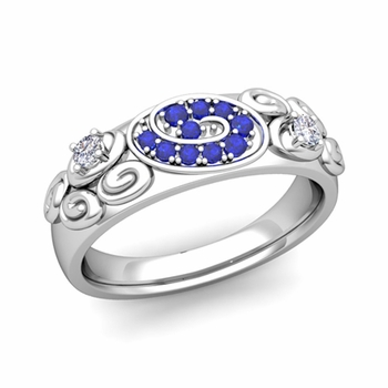 Swirl Diamond and Sapphire Wedding Ring Band in 14k Gold, 5.5mm