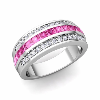 Princess Cut Pink Sapphire and Pave Diamond Wedding Ring in 14k Gold, 7mm