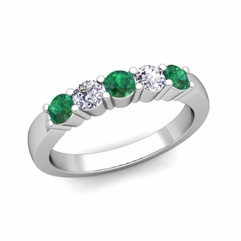 5 Stone Diamond and Emerald Wedding Ring in Platinum