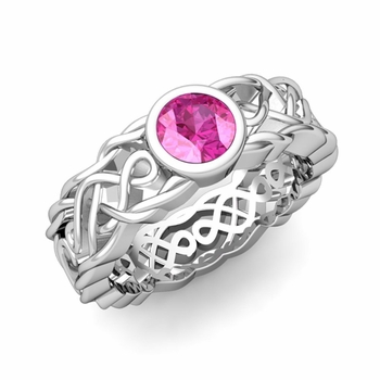 Solitaire Pink Sapphire Ring in Platinum Celtic Knot Wedding Band, 5.5mm