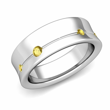 Flush Set Yellow Sapphire Wedding Band Ring in Platinum, 5mm