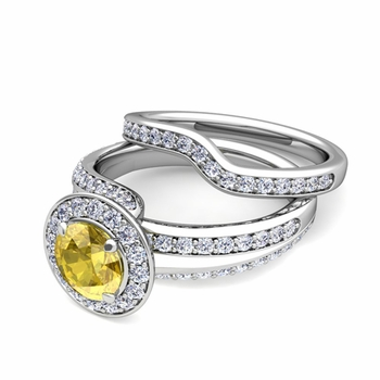 Wave Diamond and Yellow Sapphire Engagement Ring Bridal Set in Platinum, 7mm