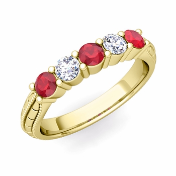 Milgrain Ruby and Diamond Wedding Band in 18k Gold 5 Stone Ring, 3mm