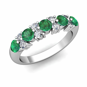 Garland Diamond and Emerald Wedding Ring in 14k Gold