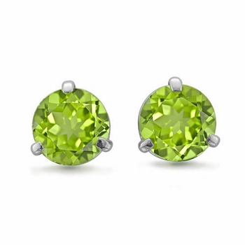 Natural Peridot Stud Earrings In 18k White Or Yellow Gold 3 G Martini Studs