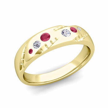 Mens Flush Set Diamond and Ruby Wedding Band in 18k Gold, 6mm