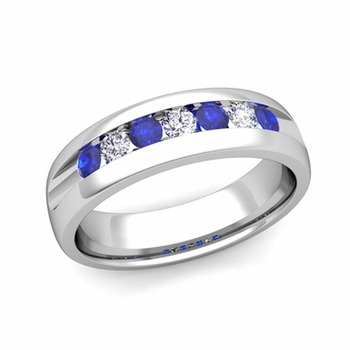 Channel Set Diamond and Sapphire Mens Wedding Band in Platinum Comfort Fit Ring, 6mm