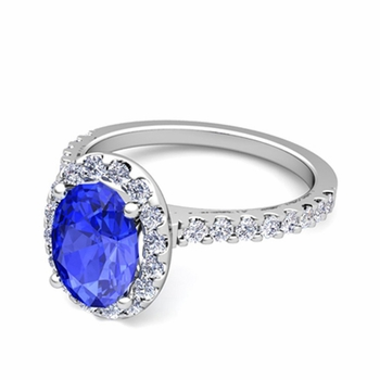 Petite Pave Set Diamond and Ceylon Sapphire Halo Engagement Ring in 14k Gold, 7x5mm