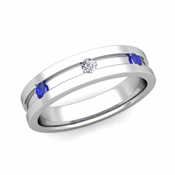 3 Stone Diamond Sapphire Mens Wedding Ring in Platinum Comfort Fit Ring, 5mm