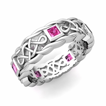 Princess Cut Pink Sapphire Ring in Platinum Celtic Knot Wedding Band, 5mm