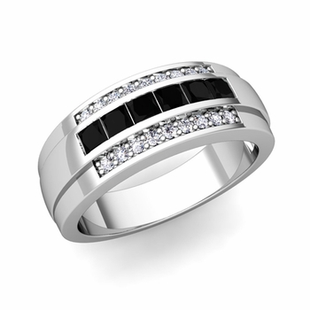 Princess Cut Black and White Diamond Mens Wedding Band in 14k Gold, 8mm