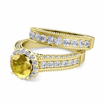 Bridal Set of Heirloom Diamond and Yellow Sapphire Engagement Wedding Ring in 18k Gold, 7mm
