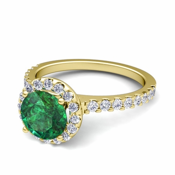 Petite Pave Set Diamond and Emerald Halo Engagement Ring in 18k Gold, 7mm