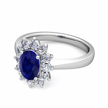 Brilliant Diamond and Blue Sapphire Diana Engagement Ring in Platinum, 8x6mm