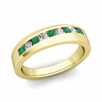 Channel Set Diamond and Emerald Wedding Band in 18k Gold, 4mm