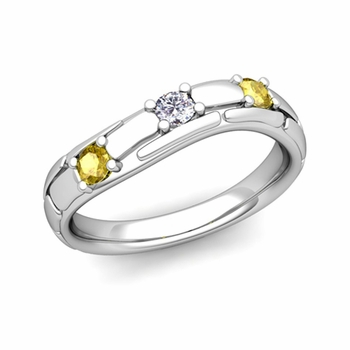 Organica 3 Stone Diamond Yellow Sapphire Wedding Ring in 14k Gold, 3mm