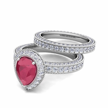 Milgrain Pear Shaped Ruby Engagement Ring Bridal Set in Platinum, 7x5mm