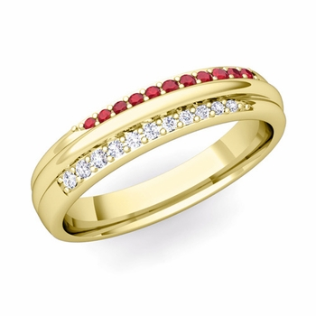 Brilliant Pave Diamond and Ruby Wedding Ring in 18k Gold, 3.5mm