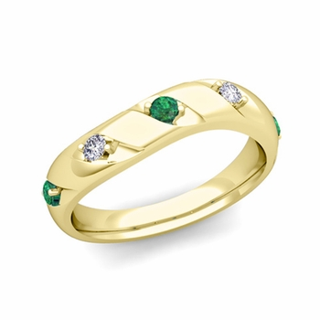 Curved Emerald and Diamond Wedding Ring Band in 18k Gold, 3.5mm