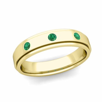 3 Stone Emerald Mens Wedding Ring in 18k Gold Comfort Fit Ring, 5mm
