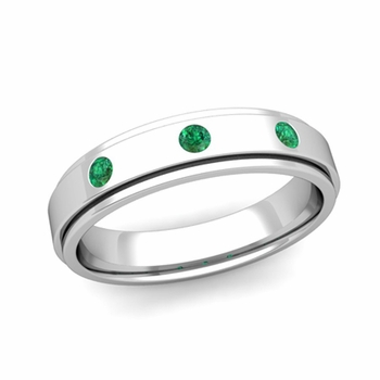3 Stone Emerald Mens Wedding Ring in Platinum Comfort Fit Ring, 5mm