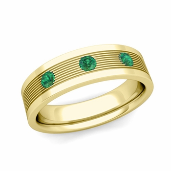 3 Stone Emerald Mens Wedding Band in 18k Gold Comfort Fit Ring, 5mm