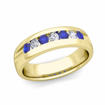 Channel Set Diamond and Sapphire Mens Wedding Band in 18k Gold Comfort Fit Ring, 6mm