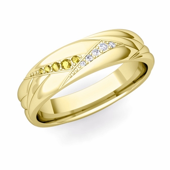 Wave Mens Wedding Band in 18k Gold Diamond and Yellow Sapphire Ring, 5.5mm