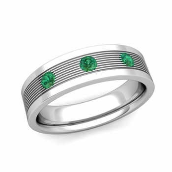 3 Stone Emerald Mens Wedding Band in Platinum Comfort Fit Ring, 5mm