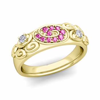 Swirl Diamond and Pink Sapphire Wedding Ring Band in 18k Gold, 5.5mm