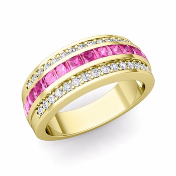 Princess Cut Pink Sapphire and Pave Diamond Wedding Ring in 18k Gold, 7mm