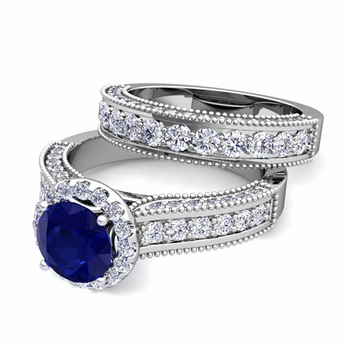 Bridal Set of Heirloom Diamond and Sapphire Engagement Wedding Ring in Platinum, 7mm