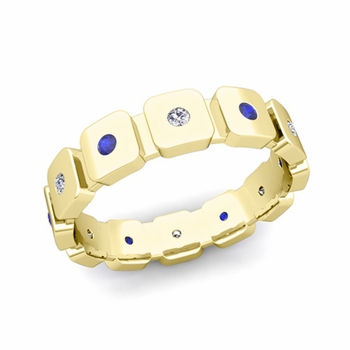 Flush Set Diamond and Sapphire Mens Wedding Band in 18k Gold Comfort Fit Ring, 5mm