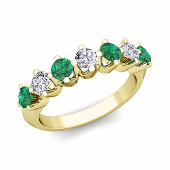 Crown Diamond and Emerald Ring in 18k Gold Knife Edge Wedding Band