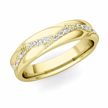 Wave Wedding Band in 18k Gold Diamond Ring, 5mm