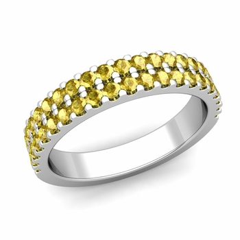 Two Row Diamond and Yellow Sapphire Wedding Ring Band in Platinum