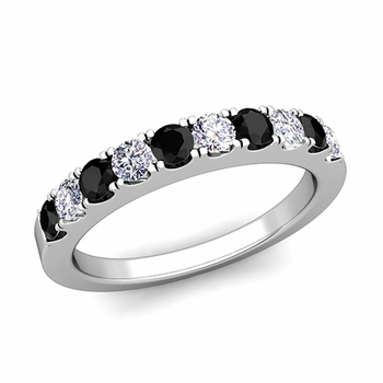 Brilliant Pave Black and White Diamond Wedding Ring Band in Platinum